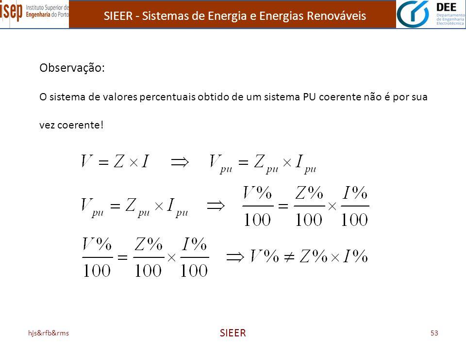 Observação: O sistema de valores percentuais obtido de um sistema PU coerente não é por sua. vez coerente!