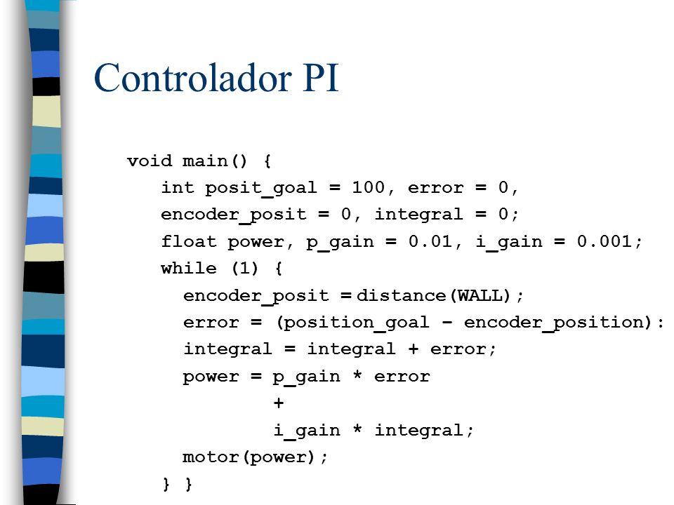 Controlador PI void main() { int posit_goal = 100, error = 0,