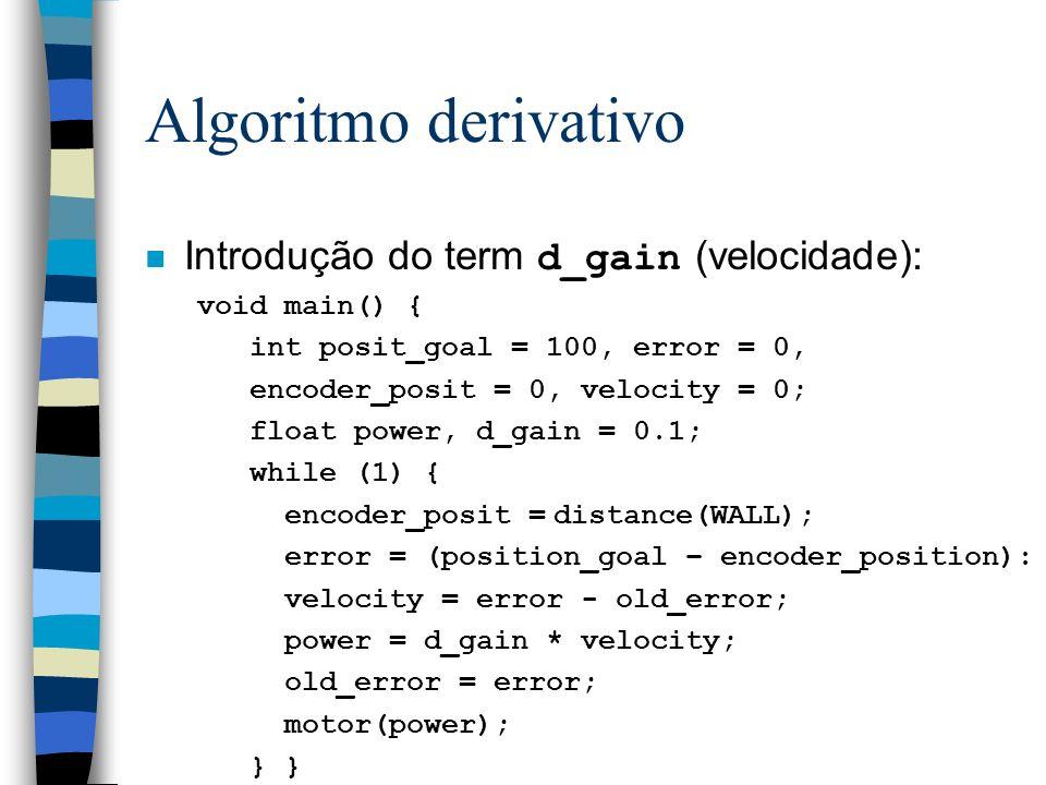 Algoritmo derivativo Introdução do term d_gain (velocidade):