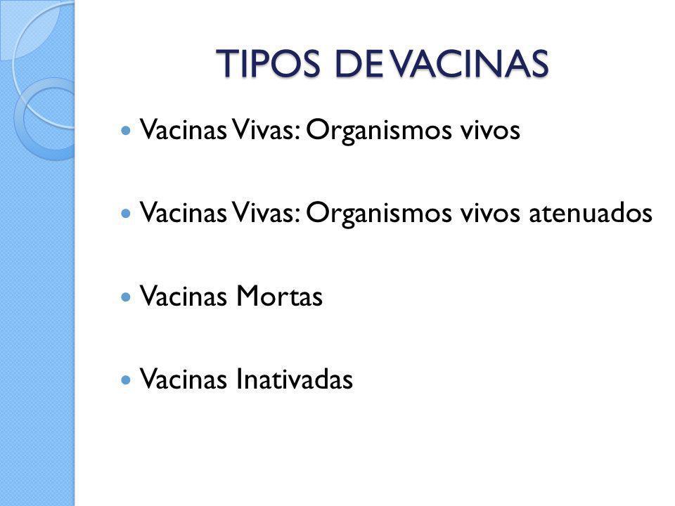 TIPOS DE VACINAS Vacinas Vivas: Organismos vivos