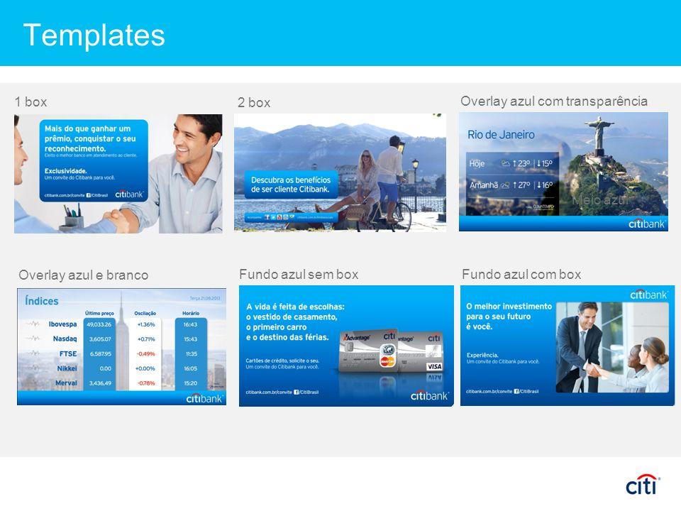 Templates 1 box 2 box Overlay azul com transparência Meio azul