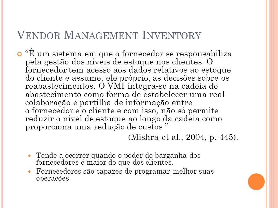Vendor Management Inventory