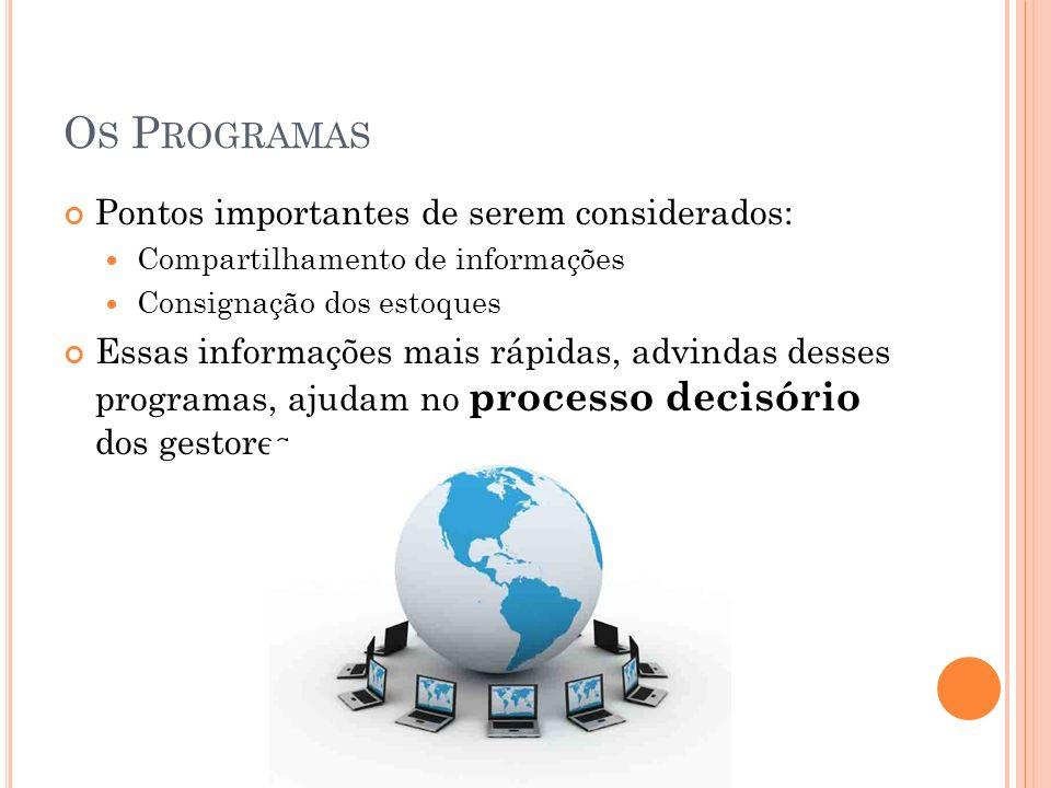 Os Programas Pontos importantes de serem considerados: