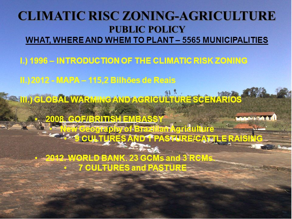 CLIMATIC RISC ZONING-AGRICULTURE