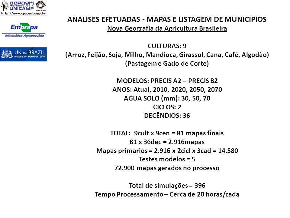 ANALISES EFETUADAS - MAPAS E LISTAGEM DE MUNICIPIOS