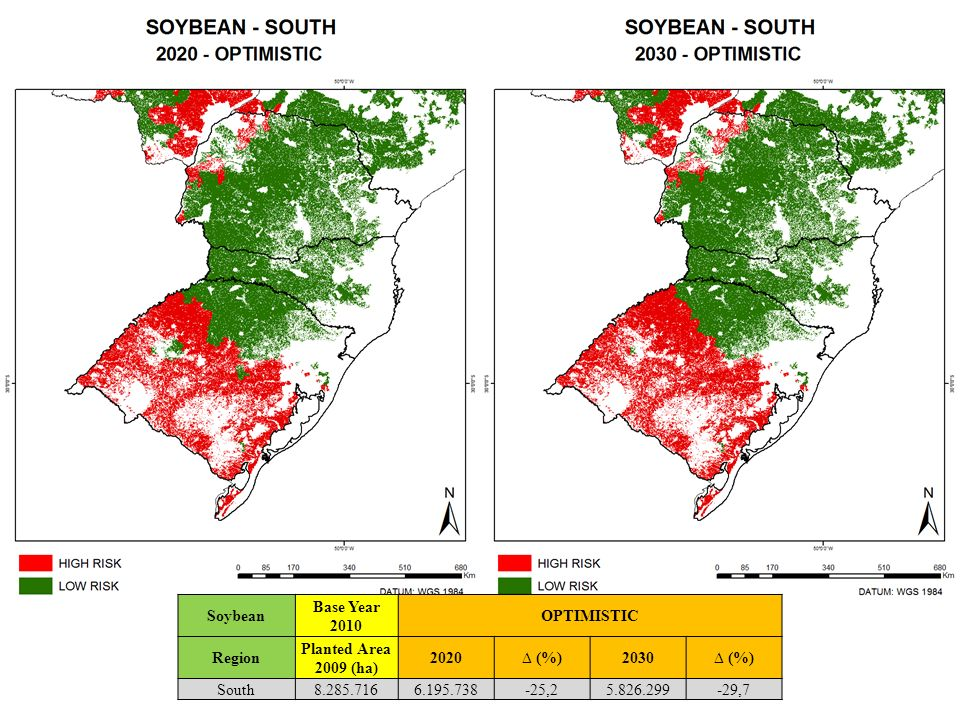 Soybean Base Year 2010. OPTIMISTIC. Region. Planted Area 2009 (ha) 2020. ∆ (%) 2030. South. 8.285.716.