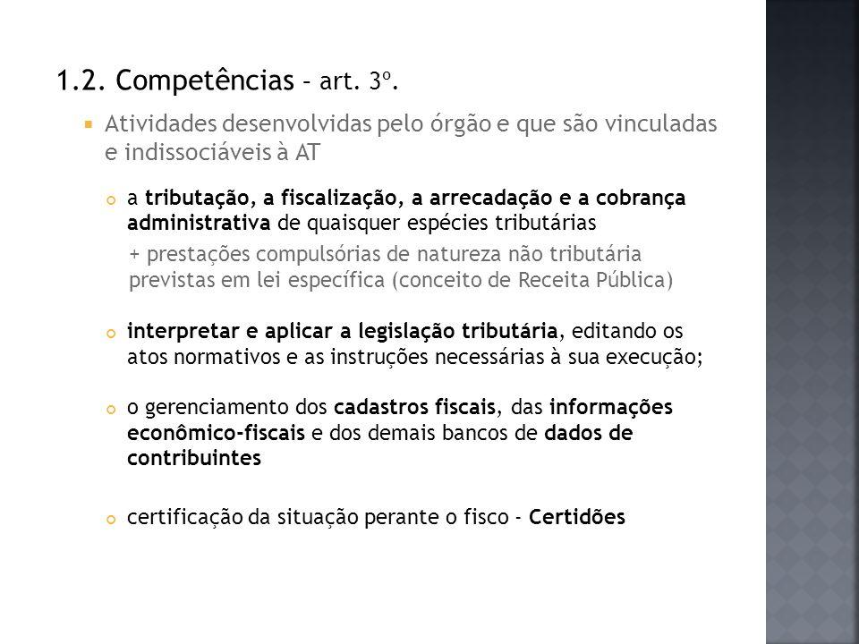 1.2. Competências – art. 3º. Atividades desenvolvidas pelo órgão e que são vinculadas e indissociáveis à AT.