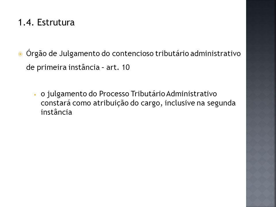 1.4. Estrutura Órgão de Julgamento do contencioso tributário administrativo de primeira instância – art. 10.