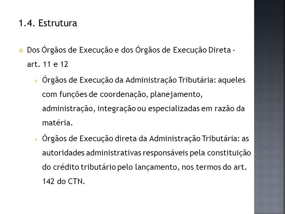 1.4. Estrutura Dos Órgãos de Execução e dos Órgãos de Execução Direta – art. 11 e 12.