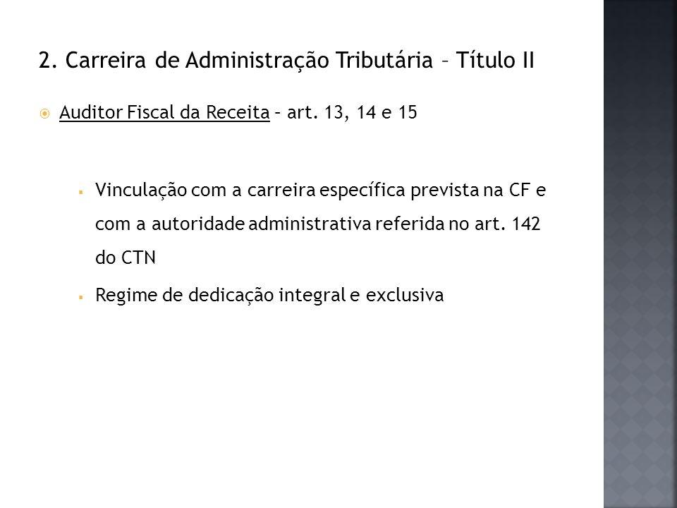 2. Carreira de Administração Tributária – Título II
