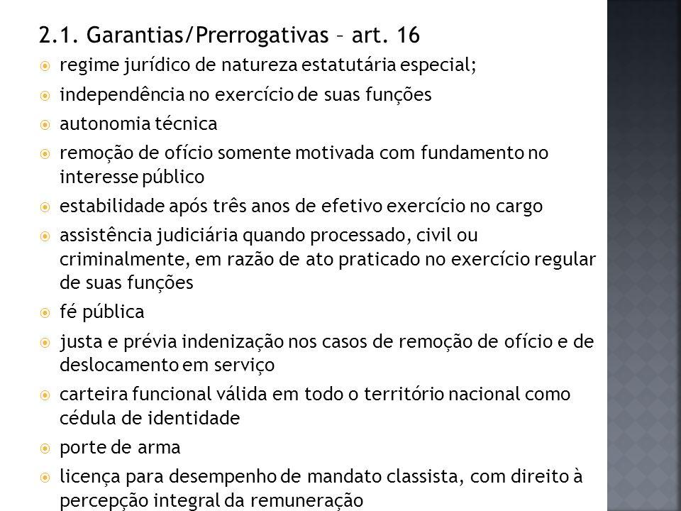 2.1. Garantias/Prerrogativas – art. 16