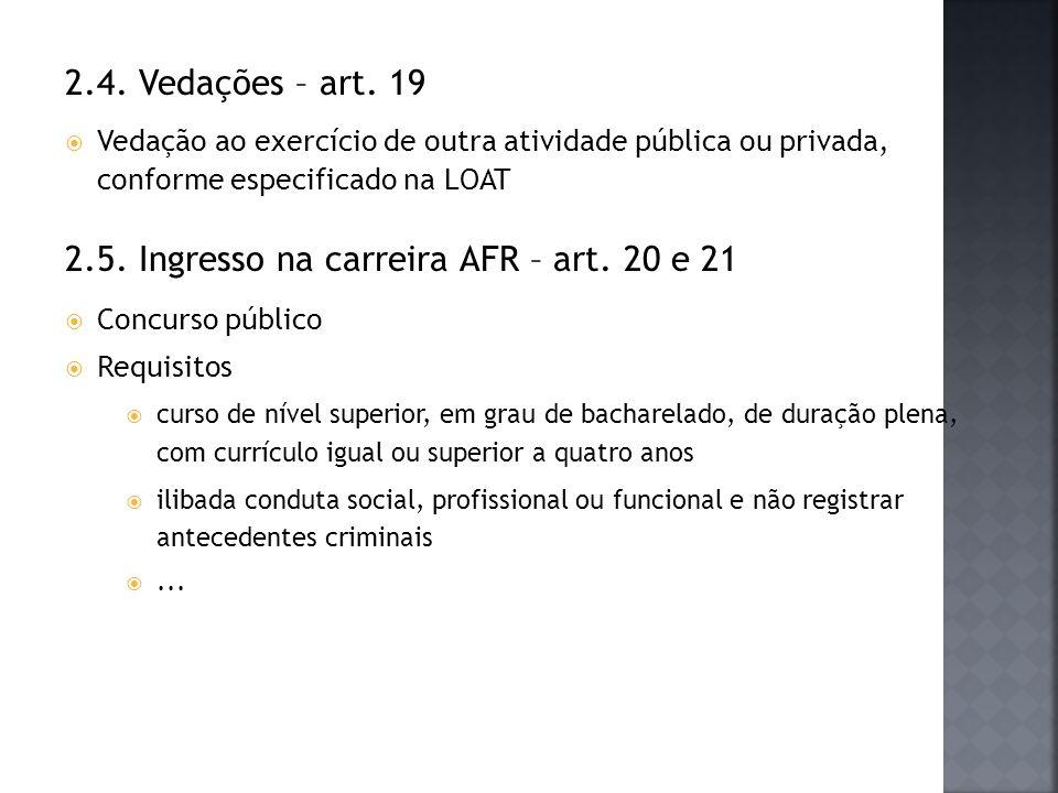 2.5. Ingresso na carreira AFR – art. 20 e 21