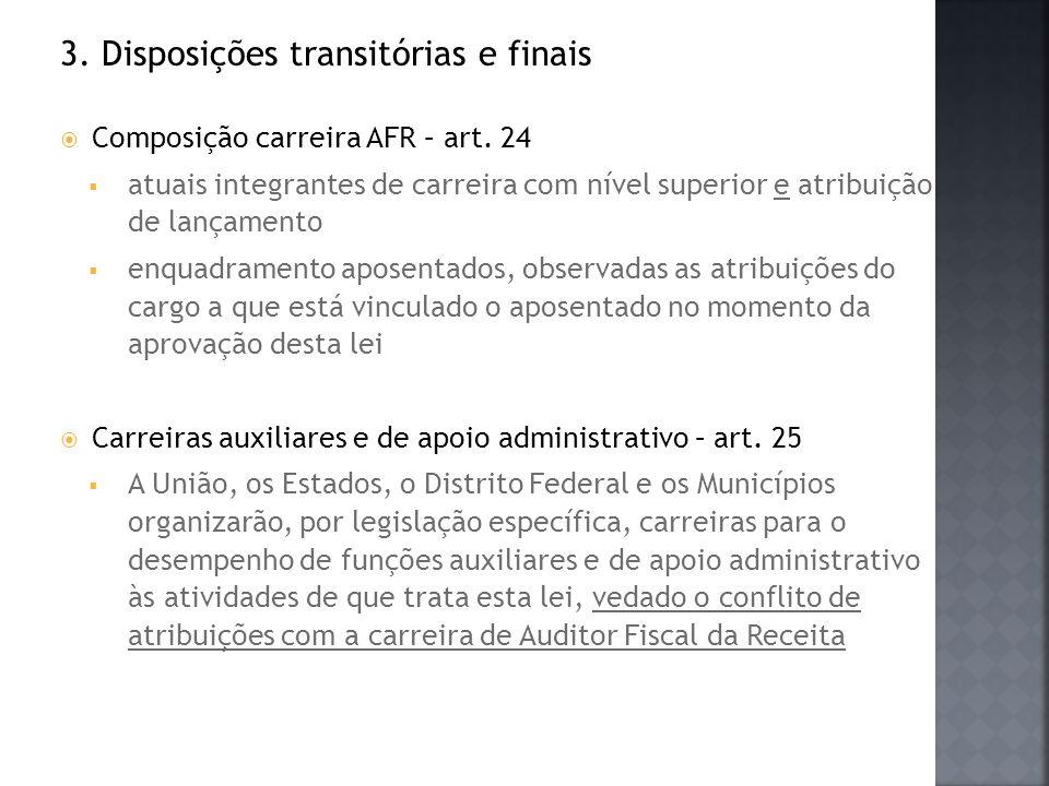 3. Disposições transitórias e finais