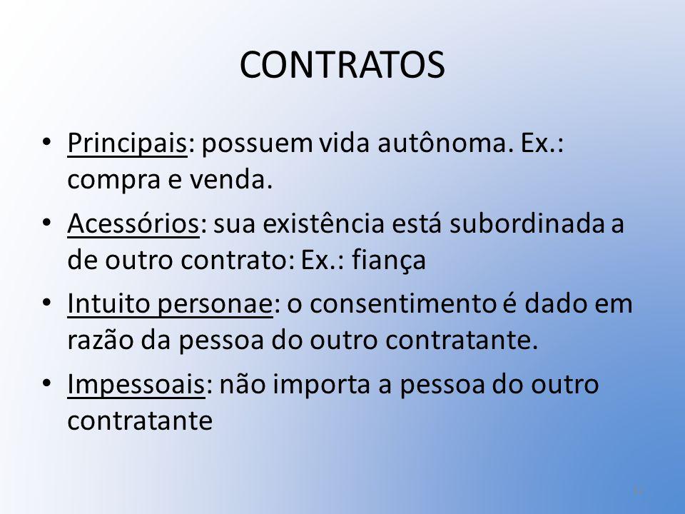 CONTRATOS Principais: possuem vida autônoma. Ex.: compra e venda.