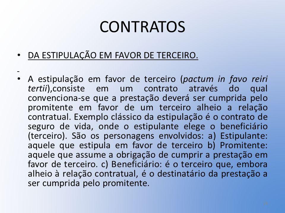CONTRATOS DA ESTIPULAÇÃO EM FAVOR DE TERCEIRO.