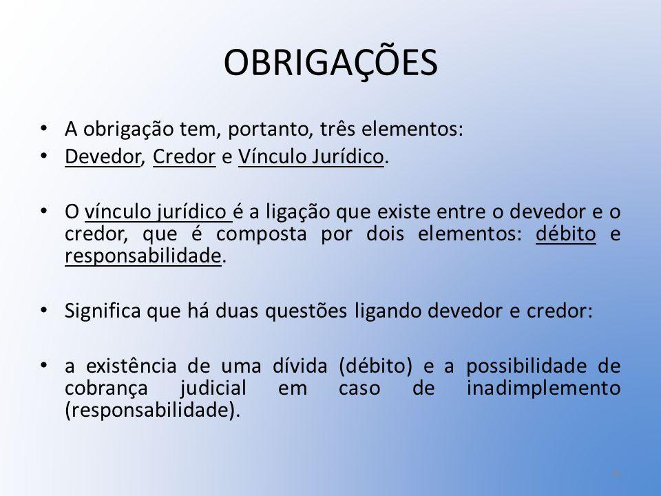 OBRIGAÇÕES A obrigação tem, portanto, três elementos: