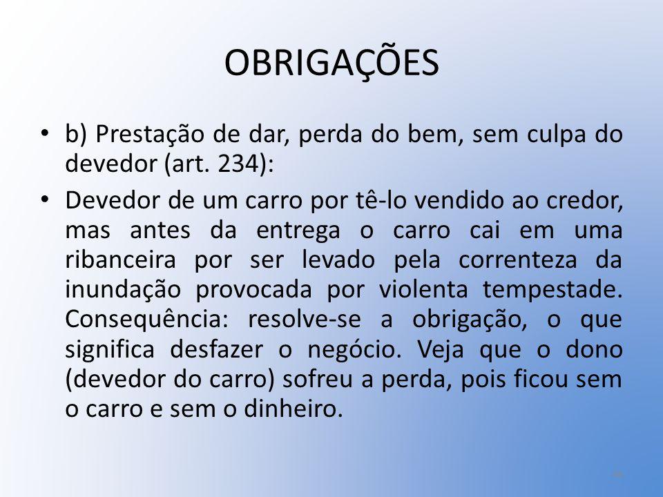 OBRIGAÇÕES b) Prestação de dar, perda do bem, sem culpa do devedor (art. 234):