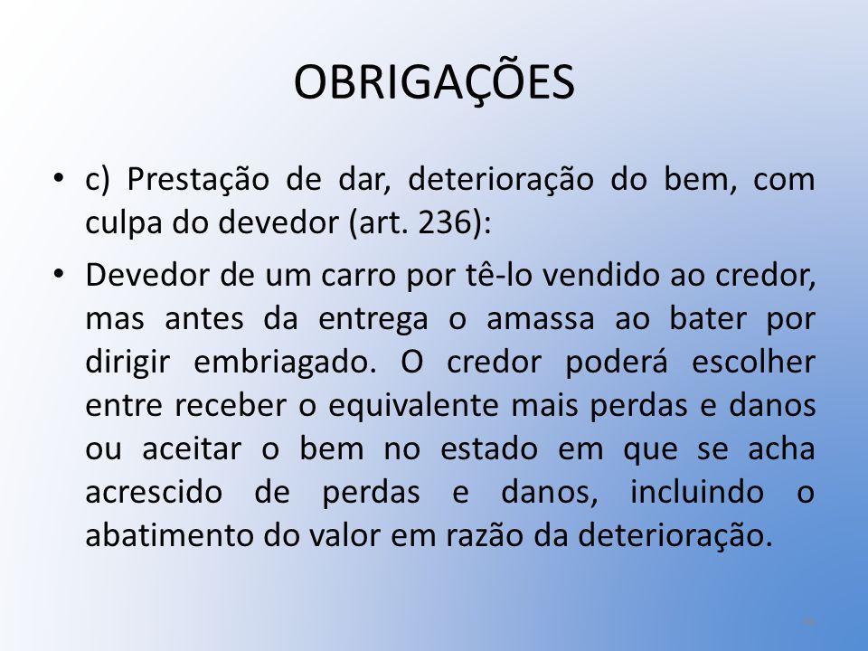 OBRIGAÇÕES c) Prestação de dar, deterioração do bem, com culpa do devedor (art. 236):
