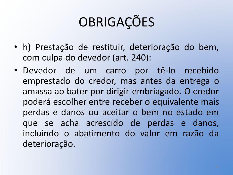 OBRIGAÇÕES h) Prestação de restituir, deterioração do bem, com culpa do devedor (art. 240):