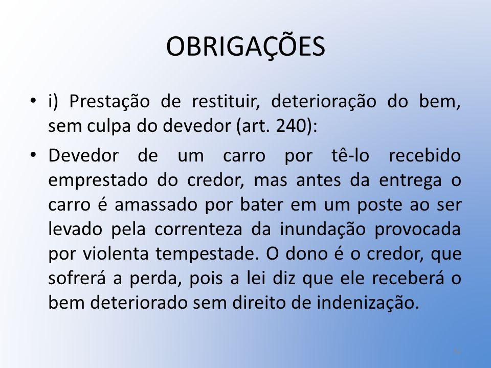 OBRIGAÇÕES i) Prestação de restituir, deterioração do bem, sem culpa do devedor (art. 240):