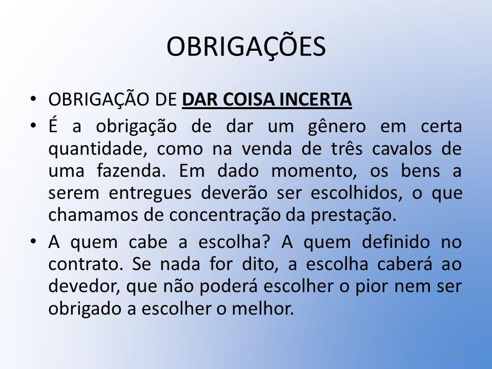 OBRIGAÇÕES OBRIGAÇÃO DE DAR COISA INCERTA