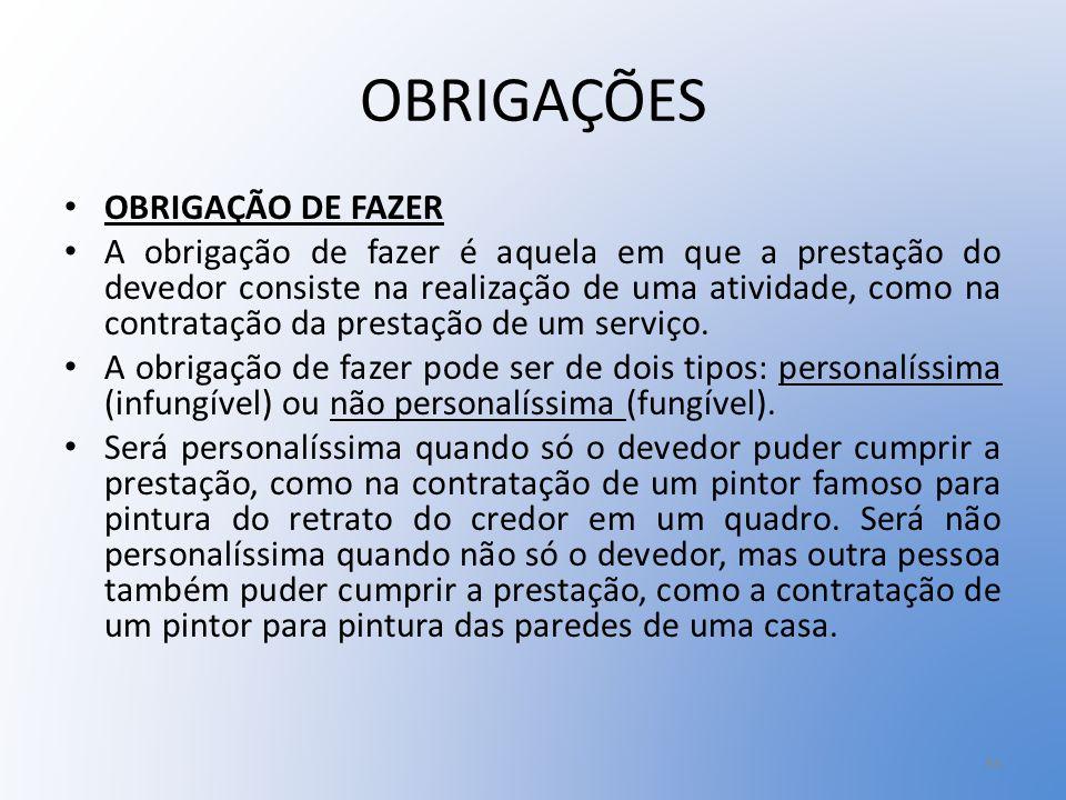 OBRIGAÇÕES OBRIGAÇÃO DE FAZER