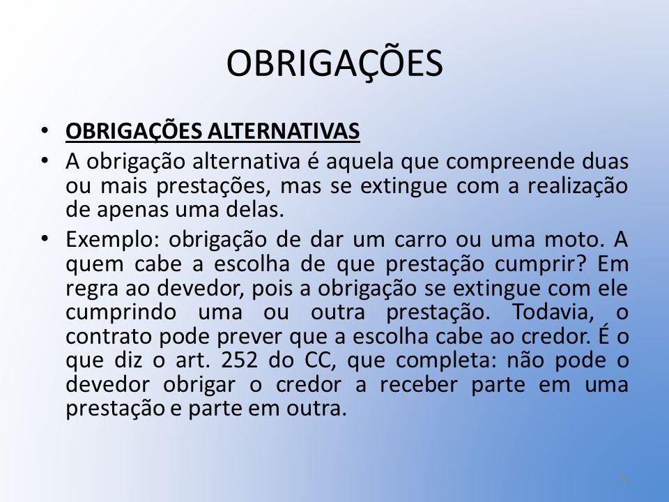 OBRIGAÇÕES OBRIGAÇÕES ALTERNATIVAS