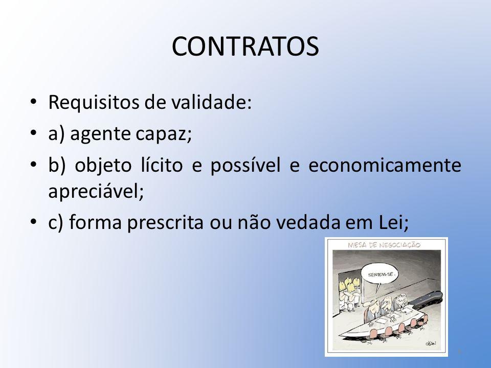 CONTRATOS Requisitos de validade: a) agente capaz;