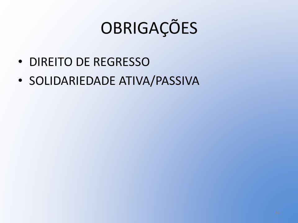 OBRIGAÇÕES DIREITO DE REGRESSO SOLIDARIEDADE ATIVA/PASSIVA