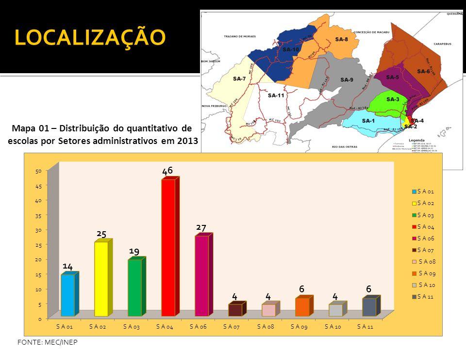 LOCALIZAÇÃO Mapa 01 – Distribuição do quantitativo de