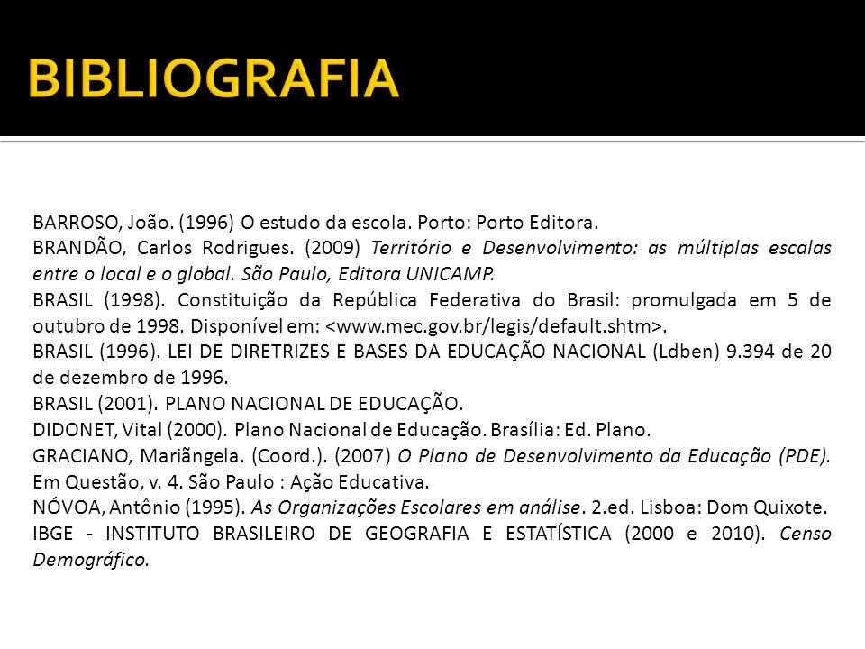 BIBLIOGRAFIA BARROSO, João. (1996) O estudo da escola. Porto: Porto Editora.