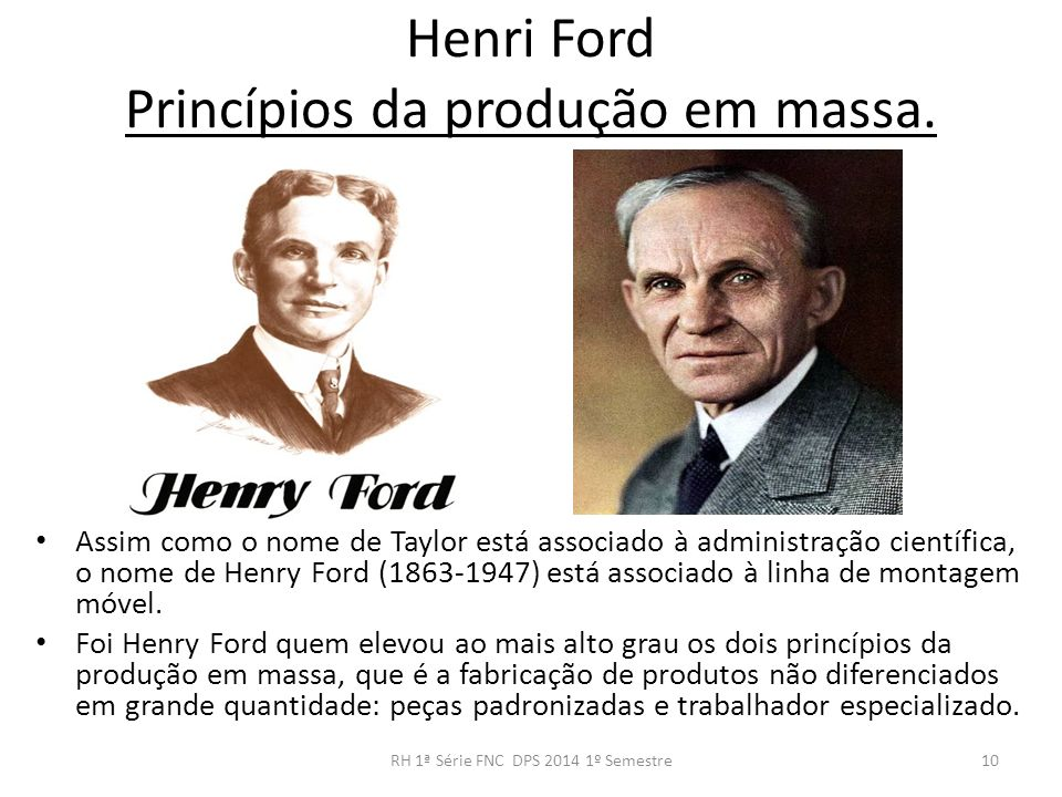 Henri Ford Princípios da produção em massa.
