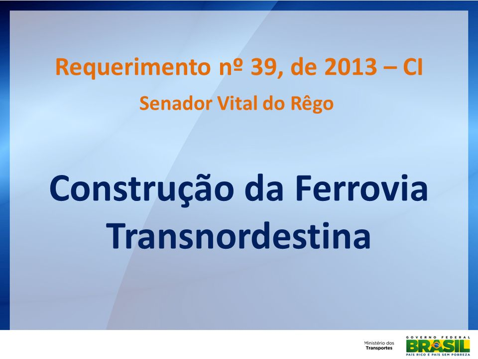 Construção da Ferrovia Transnordestina