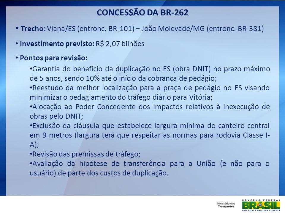 CONCESSÃO DA BR-262 Trecho: Viana/ES (entronc. BR-101) – João Molevade/MG (entronc. BR-381) Investimento previsto: R$ 2,07 bilhões.