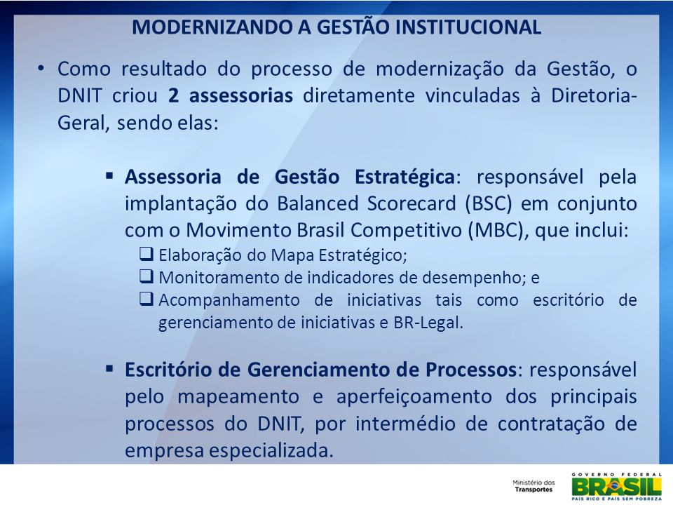 MODERNIZANDO A GESTÃO INSTITUCIONAL