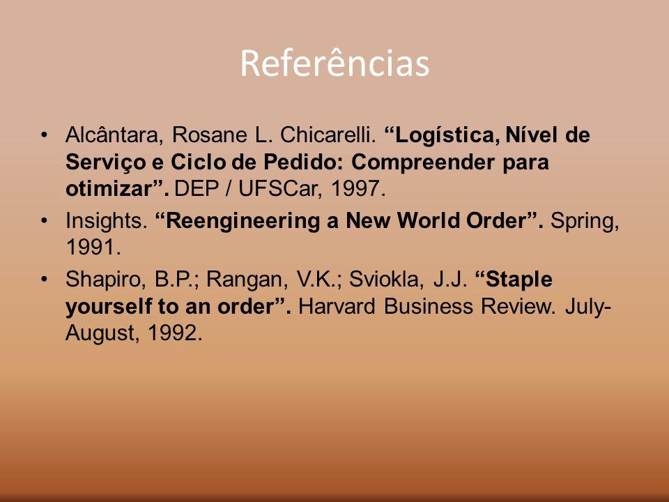 Referências Alcântara, Rosane L. Chicarelli. Logística, Nível de Serviço e Ciclo de Pedido: Compreender para otimizar . DEP / UFSCar, 1997.