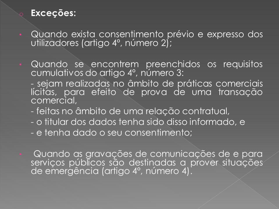 Exceções: Quando exista consentimento prévio e expresso dos utilizadores (artigo 4º, número 2);