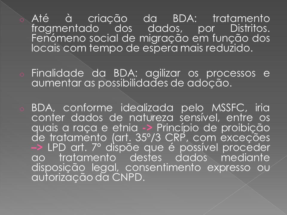 Até à criação da BDA: tratamento fragmentado dos dados, por Distritos