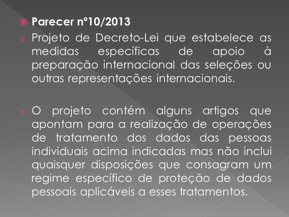 Parecer nº10/2013