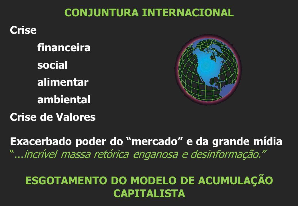 CONJUNTURA INTERNACIONAL Crise financeira social alimentar ambiental