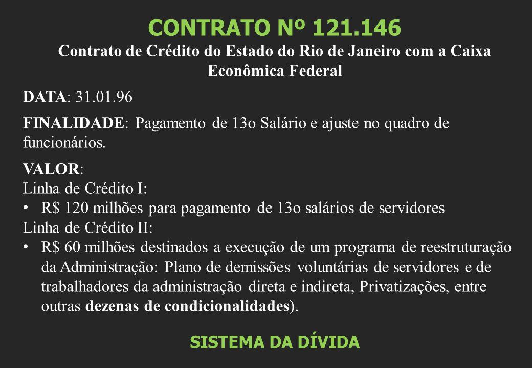 CONTRATO Nº 121.146 Contrato de Crédito do Estado do Rio de Janeiro com a Caixa Econômica Federal. DATA: 31.01.96.