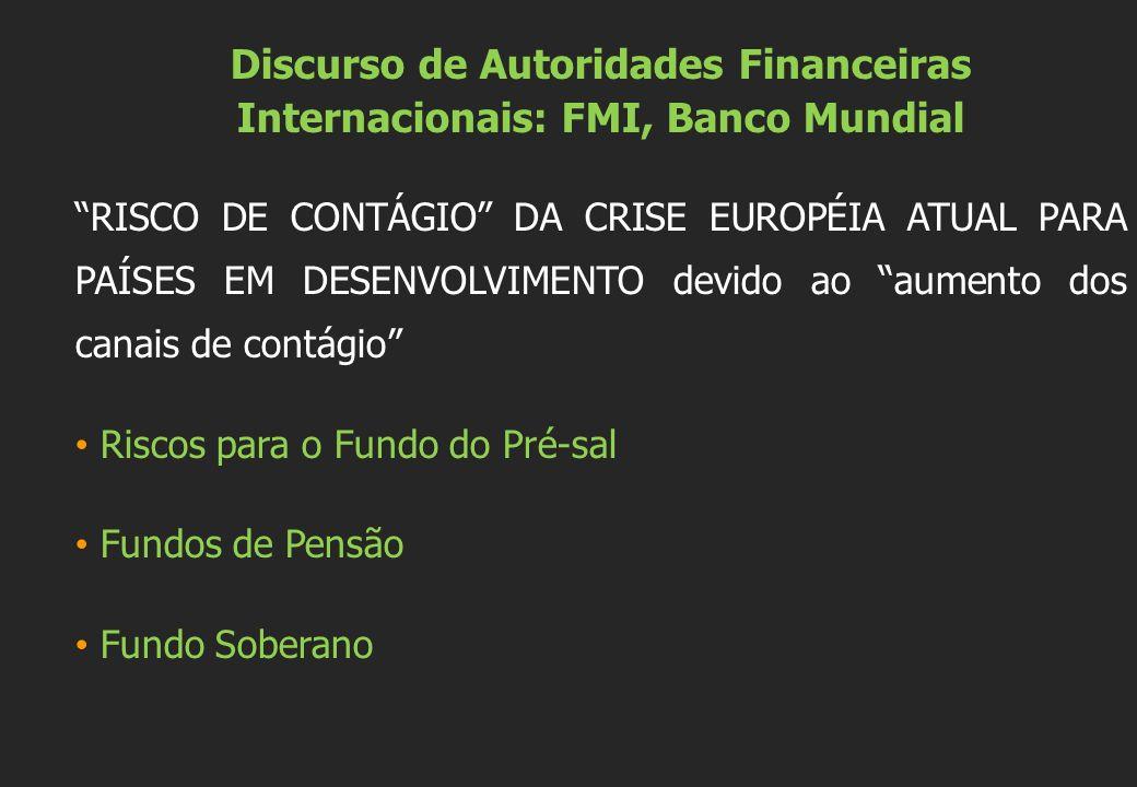 Discurso de Autoridades Financeiras Internacionais: FMI, Banco Mundial