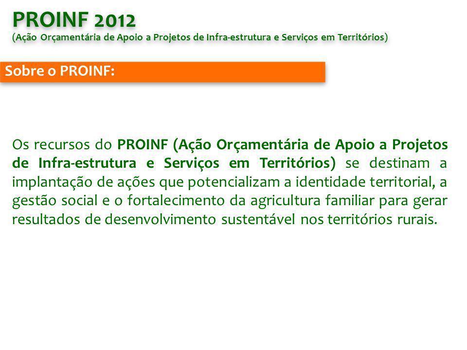 PROINF 2012 (Ação Orçamentária de Apoio a Projetos de Infra-estrutura e Serviços em Territórios) Sobre o PROINF: