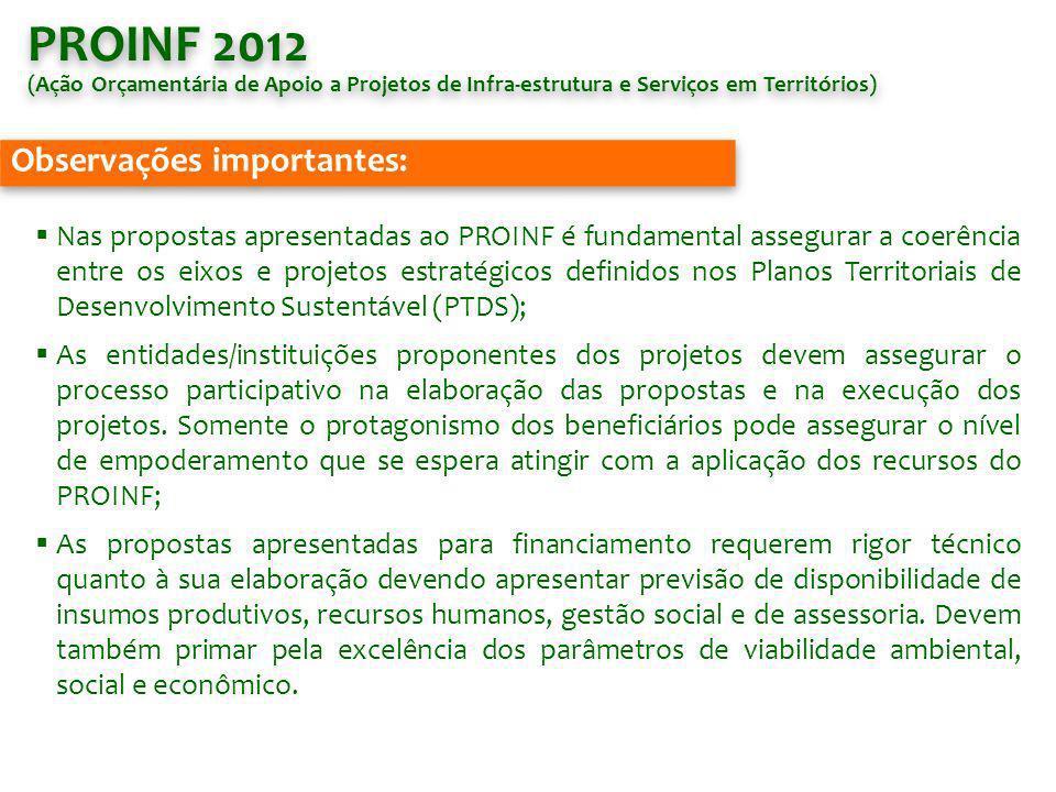 PROINF 2012 Observações importantes: