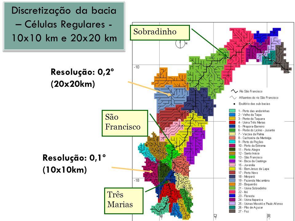 Discretização da bacia – Células Regulares - 10x10 km e 20x20 km