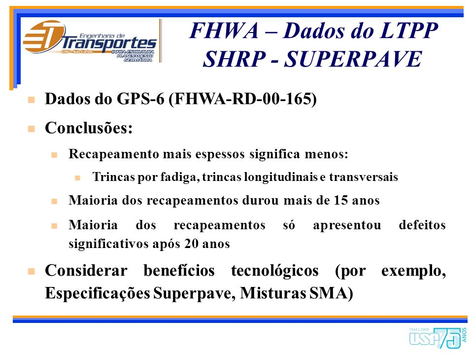 FHWA – Dados do LTPP SHRP - SUPERPAVE