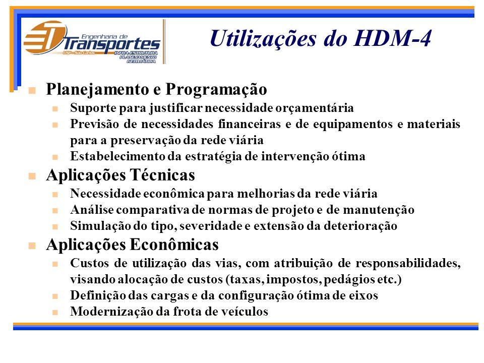 Utilizações do HDM-4 Planejamento e Programação Aplicações Técnicas