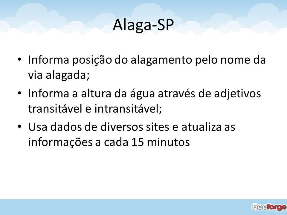 Alaga-SP Informa posição do alagamento pelo nome da via alagada;