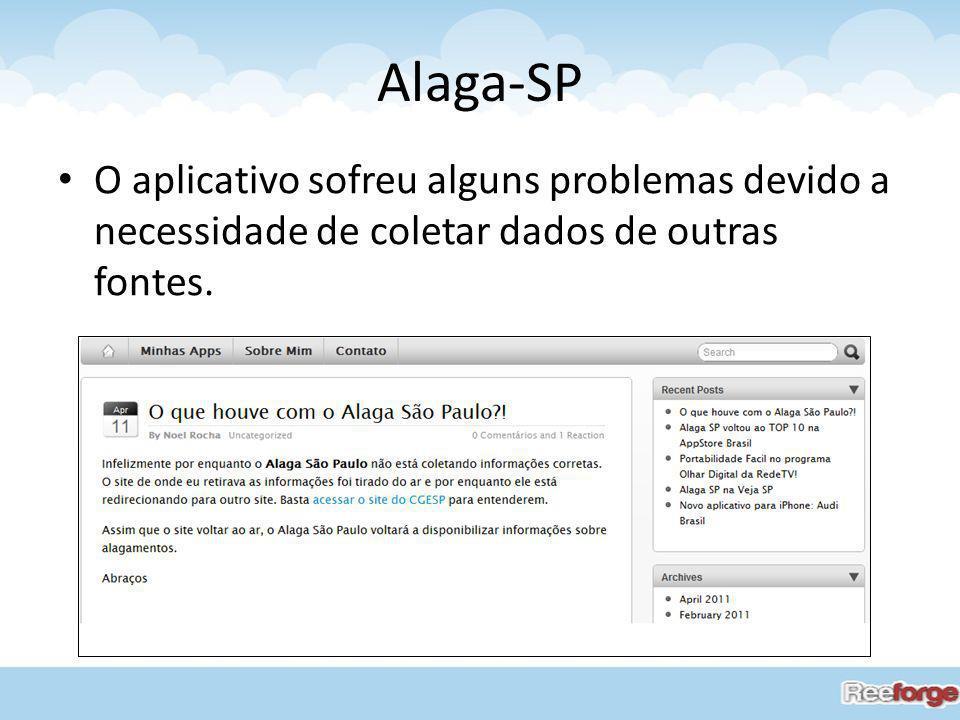 Alaga-SP O aplicativo sofreu alguns problemas devido a necessidade de coletar dados de outras fontes.