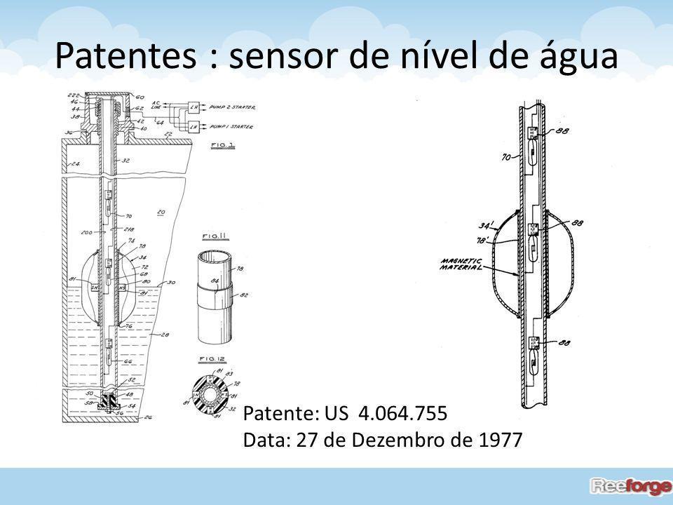 Patentes : sensor de nível de água